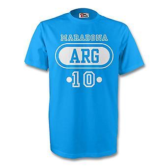 Diego Maradona Argentina Arg T-shirt (himmelsblå)