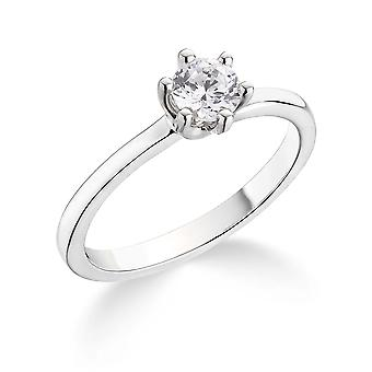 9K White Gold Classic 6 Claw 0.40Ct Certified Solitaire Diamond Engagement Ring