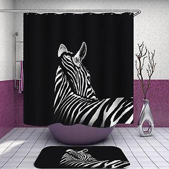 Zebra over Black Shower Curtain