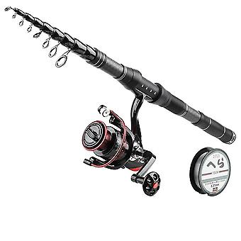 Telescopic Spinning Rod And Fishing Reel Set- Travel Surf, Carbon Fiber, Metal