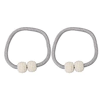 2x Magnetic White Pearl Ball Buckles Curtain Straps for Living Room