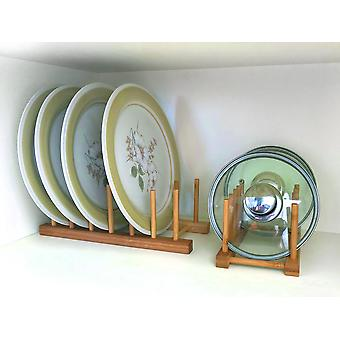 Woodquail Bamboo Set of 2 Plate Holders, Dish Rack