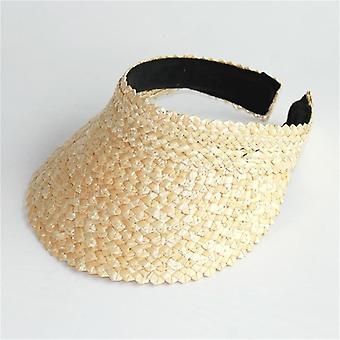 Mulheres sem Tampas de Viseira Superior, Chapéus de Sol elásticos de palha de verão (cáqui)