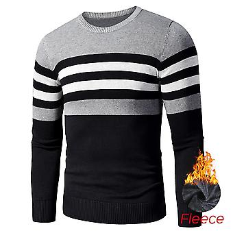 Autumn Casual Striped Thick Fleece Cotton Sweater Pullovers Men Outfit O-neck