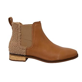 Toms Ella Honey Leather Faux Shearling Slip On Womens Chelsea Boots 10012465