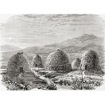 Inhabited Huts On Uig Island Of Lewis In The Outer Hebrides Scotland In 1859 From The Book Scottish Pictures Drawn With Pen And Pencil By Samuel G Green Published 1886 PosterPrint