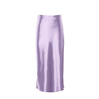Solid Satin Silk Skirt High Waisted, Summer Long Ladies Office
