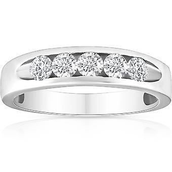 1/2ct Diamond Mens Wedding Ring Channel Set High Polished Band 14K White Gold