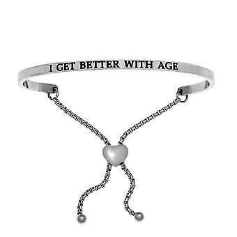 Intuitions Stainless Steel I GET BETTER AGE Diamond Accent Adjustable Bracelet
