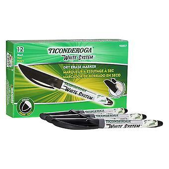 Dry Erase Markers, Fine Tip, Black, Pack Of 12