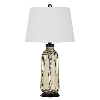 3 way Glass Body Table Lamp Wit Tapered Fabric Shade, Ensemble de 2, Blanc