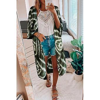 Bat Sleeve Fashion Tie-dye Print Beachwear Cardigan
