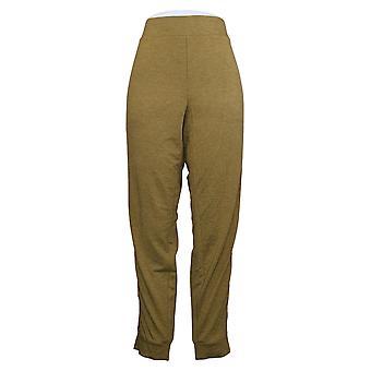LOGO by Lori Goldstein Women's Pants Jogger W/ Tuxedo Stripe Green A368797