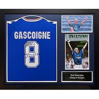 Rangers Gascoigne Signed Shirt (Framed)