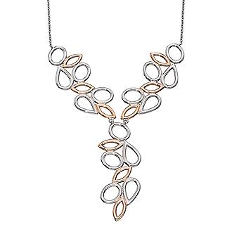 Elements Silver Ladies 925 Sterling Silver Rose Gold Plated Contrast Shape Necklace of Length 46cm