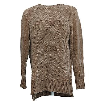 Denim & Co. Dames Sweater Chenille Scoop-Neck Long-Sleeve Brown A343123