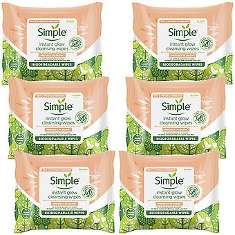 6pk de simple protect 'N' Glow Instant Cleansing Wipes for Dull & Tired Skin