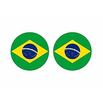 2x stick klistermärke rund cocarde Bresil flagga Bresil