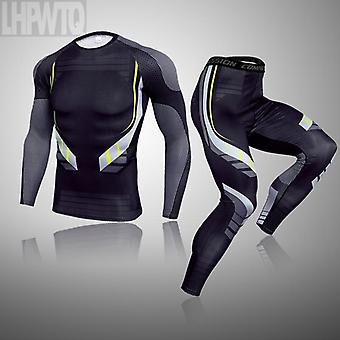 Gym Clothing Men's Compression Dry 3-piece Set Suit ( Set 2)
