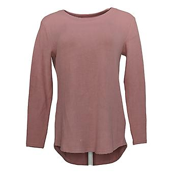 Lisa Rinna Collection Women's Top Hacci Knit Curved Hem Pink A341720
