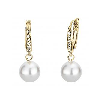 Traveller Drop Earring - Leverback - 10mm White Pearl - 22ct Gold Plated - 114143 - 691