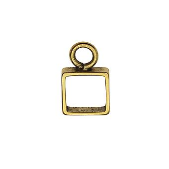 Open Back Bezel Pendant, Itsy Square 9.5x15mm, Antiqued Gold, 1 Piece, by Nunn Design