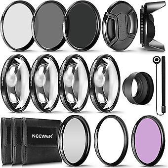 FengChun 58mm Komplettes Objektivfilter-Zubehör-Set für Objektive mit 58mm Filtergröße: UV CPL FLD
