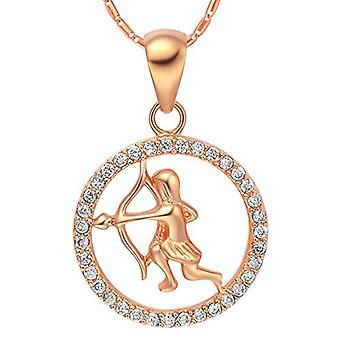 Autiga&reg, Women's Necklace, with zodiac sign pendant of the&rsquo,Aquarium and zircons, gold plated, metal base, color: Ref. 4058433099722