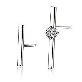 Gemshadow unisex sterling 925 silver with asymmetrical cubic zircons