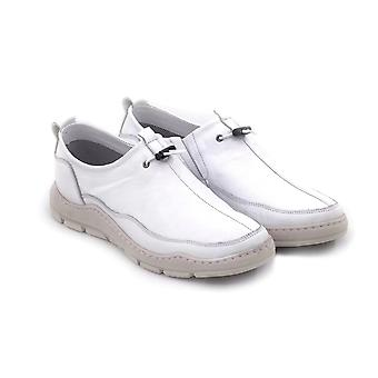 Men's Genuine Leather White Moccasin Shoes Fashion Loafer Shoe