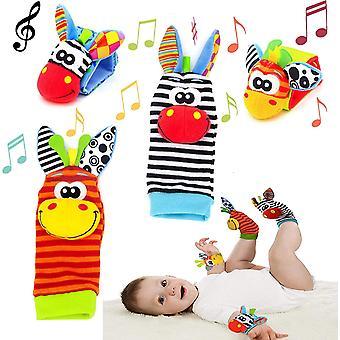 FengChun Baby Rassel Socken Handgelenk Rasseln Fuß Finder Socken Set, Baby Rassel Spielzeug Tier Handgelenk Rassel Rassel