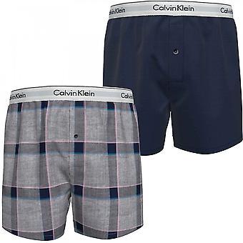 Calvin Klein Moderni Puuvilla Slim Fit Kudottu Nyrkkeilijä 2-Pakkaus, Uusi Laivasto / Tinton Plaid, Suuri