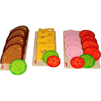 Goki Brotscheiben, Wurstscheiben und Käseaufschnitt, mit Salat- und Gemüsebeilage, Set Brot, Wurst,