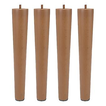 4pcs 24.2x4.1x2.5cm Tapered Wooden Furniture Legs w/ M6 Screw for Table