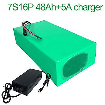 Battery With Charger 5a 48ah 24v 25.9v Li-ion 18650 Rechargeable Electric Bicycle E-bike Ebike Accept Customization 7s16p 270 * 155 * 70mm