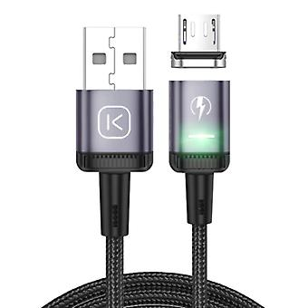 Kuulaa Micro USB Magnetic Charging Cable 2 Meters with LED Light - 3A Fast Charging Braided Nylon Charger Data Cable Android Purple