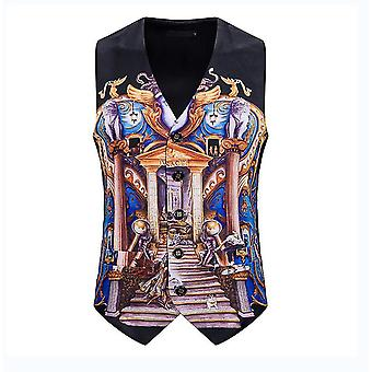 Mens Black Grafitti Single Breasted Vest Gothic Steampunk Victorian Brocade Waistcoat(XL)