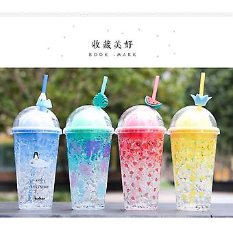450ml Cartoon Mickey Summer Ice Cream Straw Cup Double Transparent Water Bottle Cute Fashion Ice Drink Water Cup