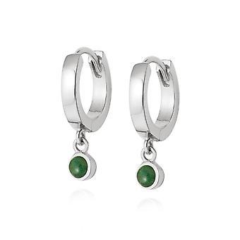 Daisy Green Aventurine Healing Huggie Hoops Sterling Silver Earrings HE3001_SLV