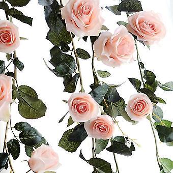 1PCS Rose Künstliche Seidenrose gefälschte Rosen Rebe Blumen Hängepflanze Blätter Girlande Hochzeit