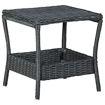 vidaXL Puutarhapöytä Tummanharmaa 45x45x46,5 cm Poly Rottinki