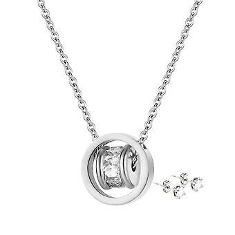 Orbit Pendant & Earring Set täckt med kristaller från Swarovski - Silver X1, Rose X1
