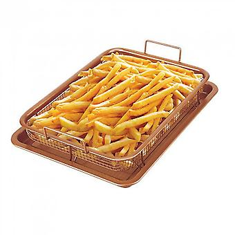 Gothamsteel Ceramic Copper Easy Grip Oil Filter Oil Frying Basket And Tray