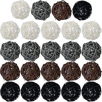 Rotan bal, 24 stuks 2 inch rieten bal decoratieve bal bollen vaas fillers (stijl 2)