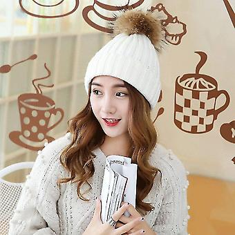 Winter And Autumn Large Sized Fur Hat With Fur 15cm Pompom Ball Top Beanies