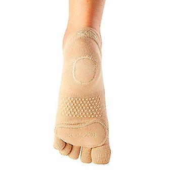 ToeSox Full Toe Prima Bellarina Yoga Pilates Dance Socks Fitted Heel Pad - Nude
