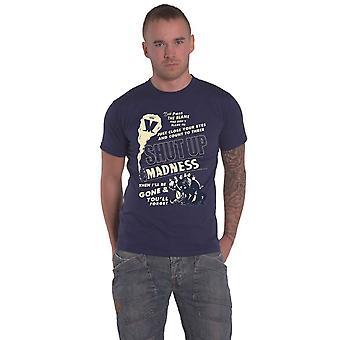 Madness T Shirt Shut Up Band Logo new Official Mens Navy Blue