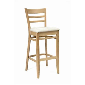 Cristo Stool - Natural Finish With Cream Padded Seat