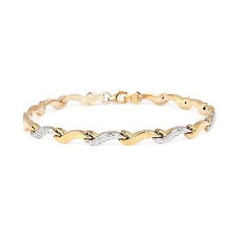 """TJC 9Karat Gelb und Weißgold Diamant Schliff Wave Link Armband Größe 7,5 """""""