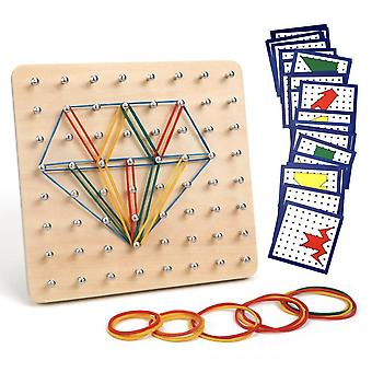 Montessori Wooden Toy With Patterned Card And Rubber Strap-8x8 Pegboard Pin With Rubber Strap Shape Jigsaw Puzzle